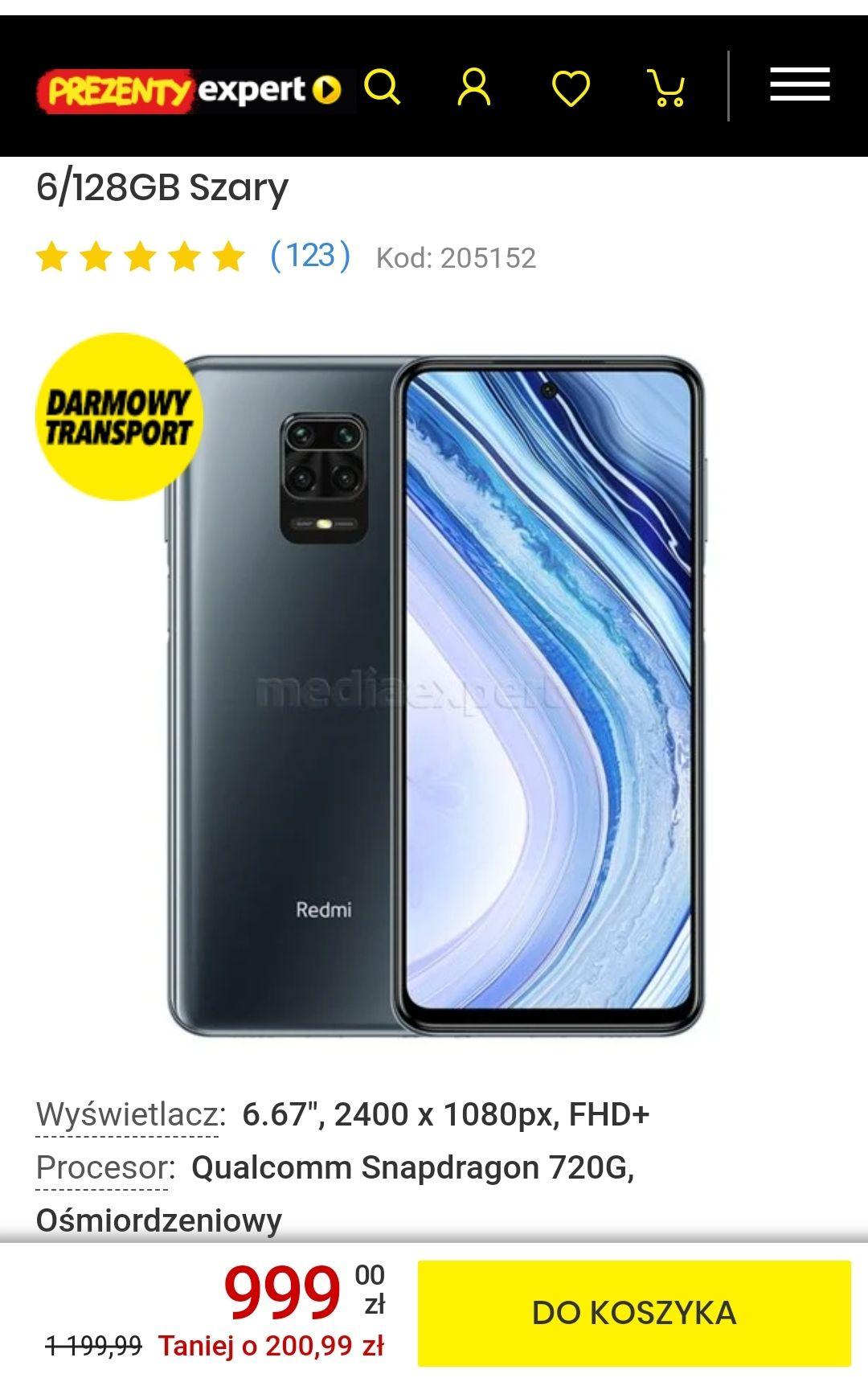 Smartfon XIAOMI Redmi Note 9 Pro 6/128GB Szary