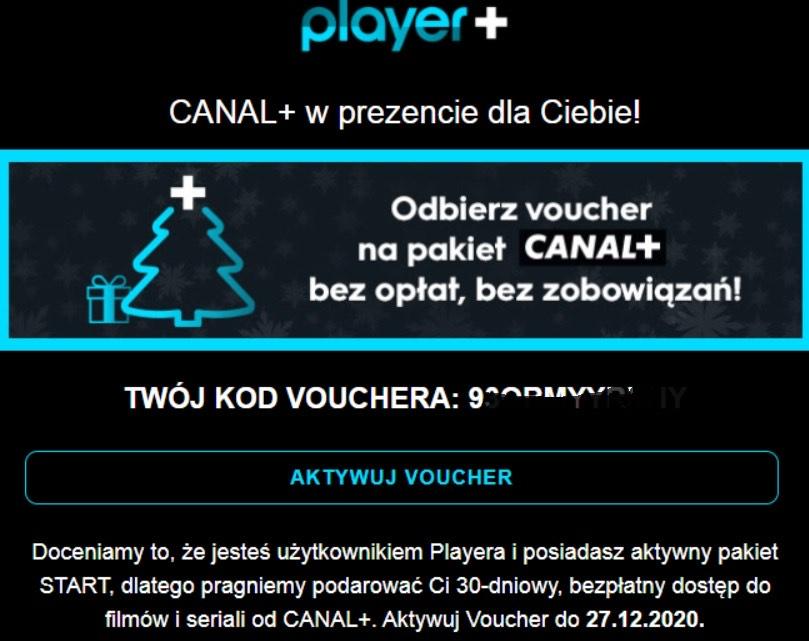 Canal plus za darmo na 30 dni w player.pl (dla użytkowników pakietu start)