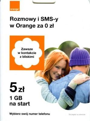 Starter Orange 5zł + 1GB (później 1000zł + 10GB/msc)