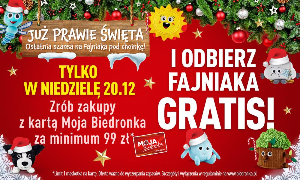 20.12 Biedronka Fajniak na Święta za zakupy powyżej 99 zł