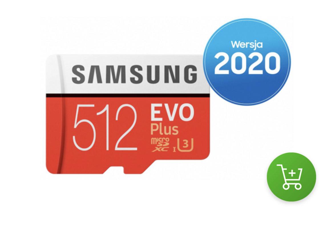 X-kom gorący strzał: Samsung 512GB microSDXC Evo Plus zapis90MB/s odczyt100MB/s