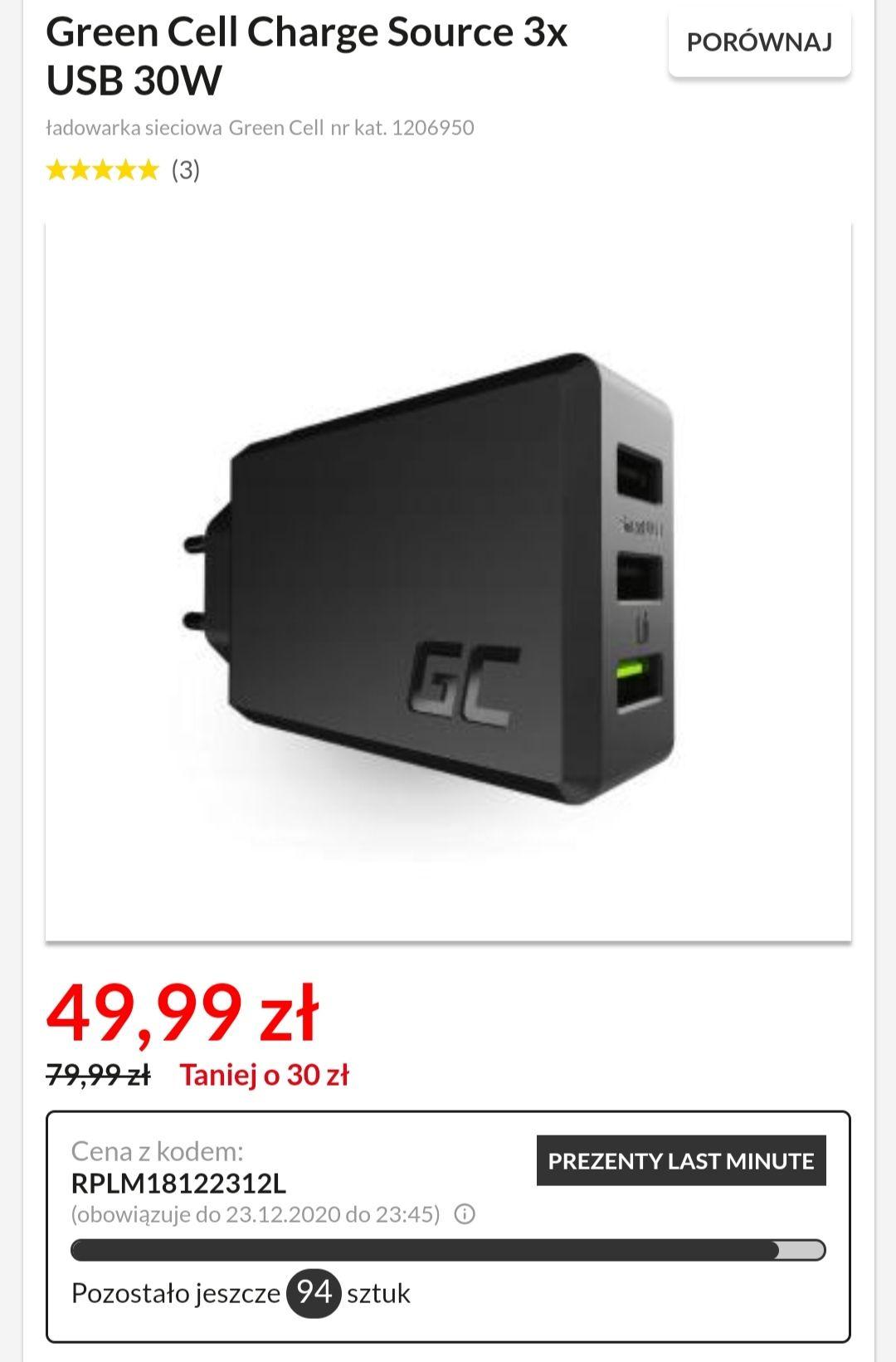 Ładowarka sieciowa Green Cell Charge Source 3x USB 30W