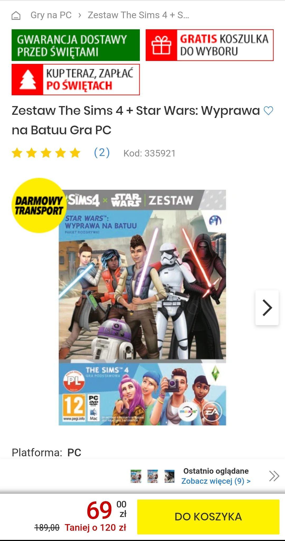 Zestaw The Sims 4 + Star Wars: Wyprawa na Batuu Gra PC / PS4 / Xbox + koszulka CENEGA Star Wars gratis, darmowa dostawa.
