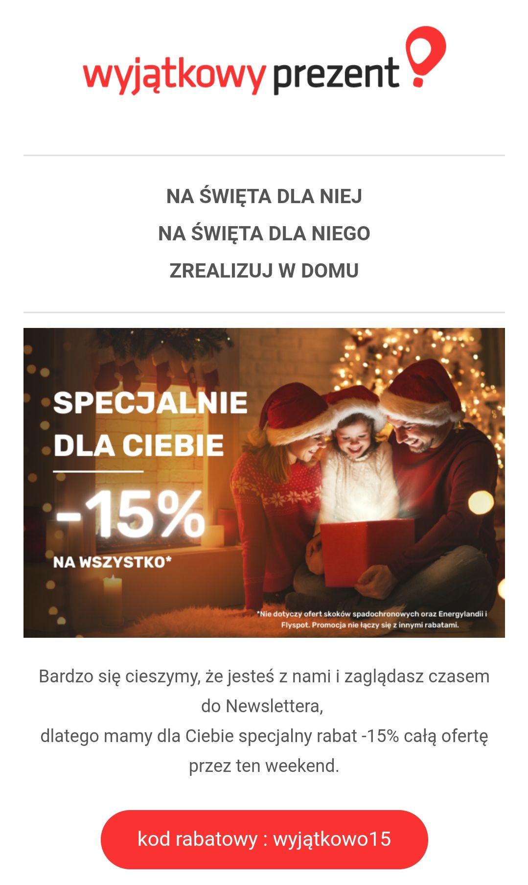 Kod rabatowy 15% na WyjątkowyPrezent.pl