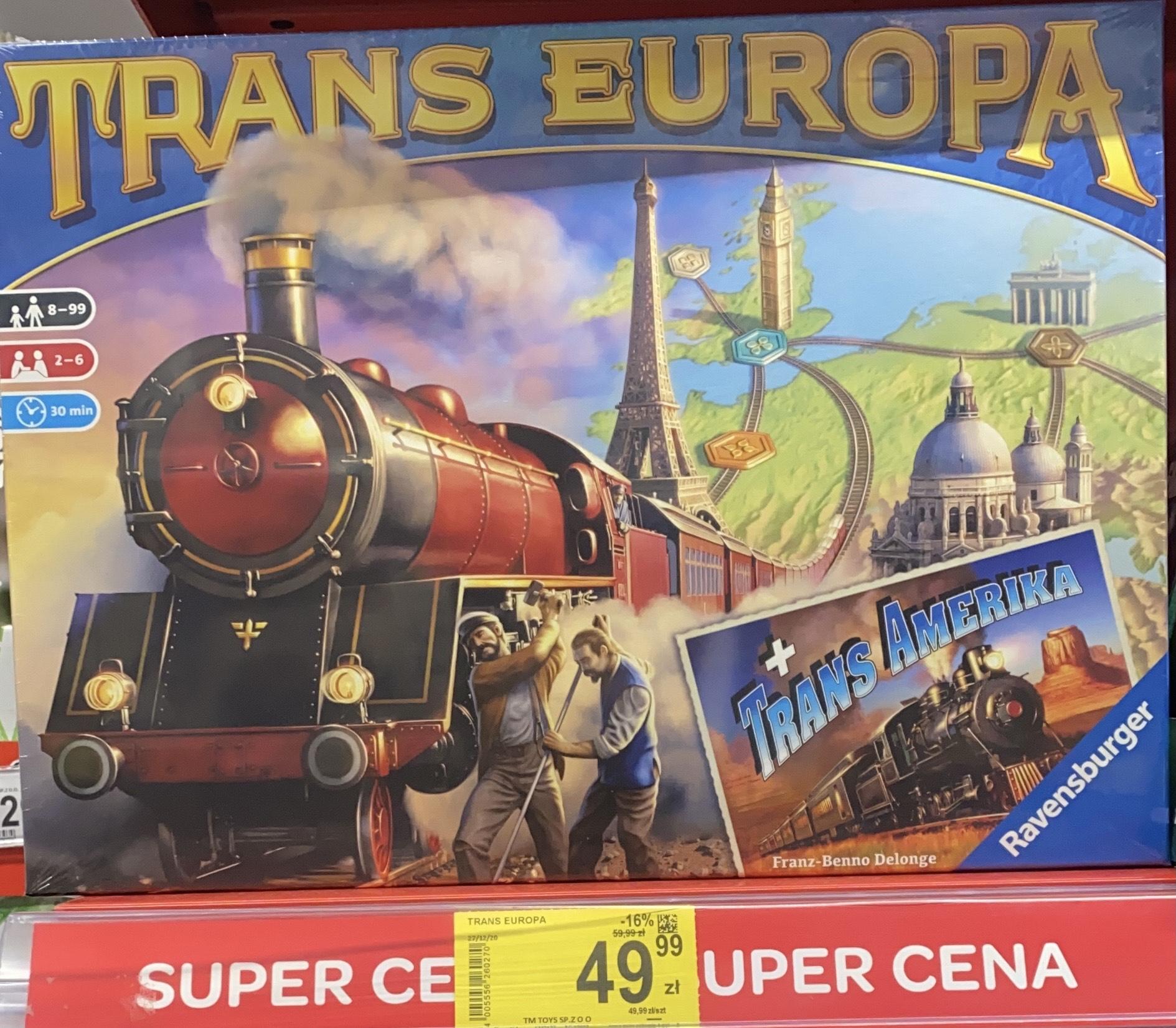Gra planszowa Trans Europa + dodatek. Carrefour Chorzów