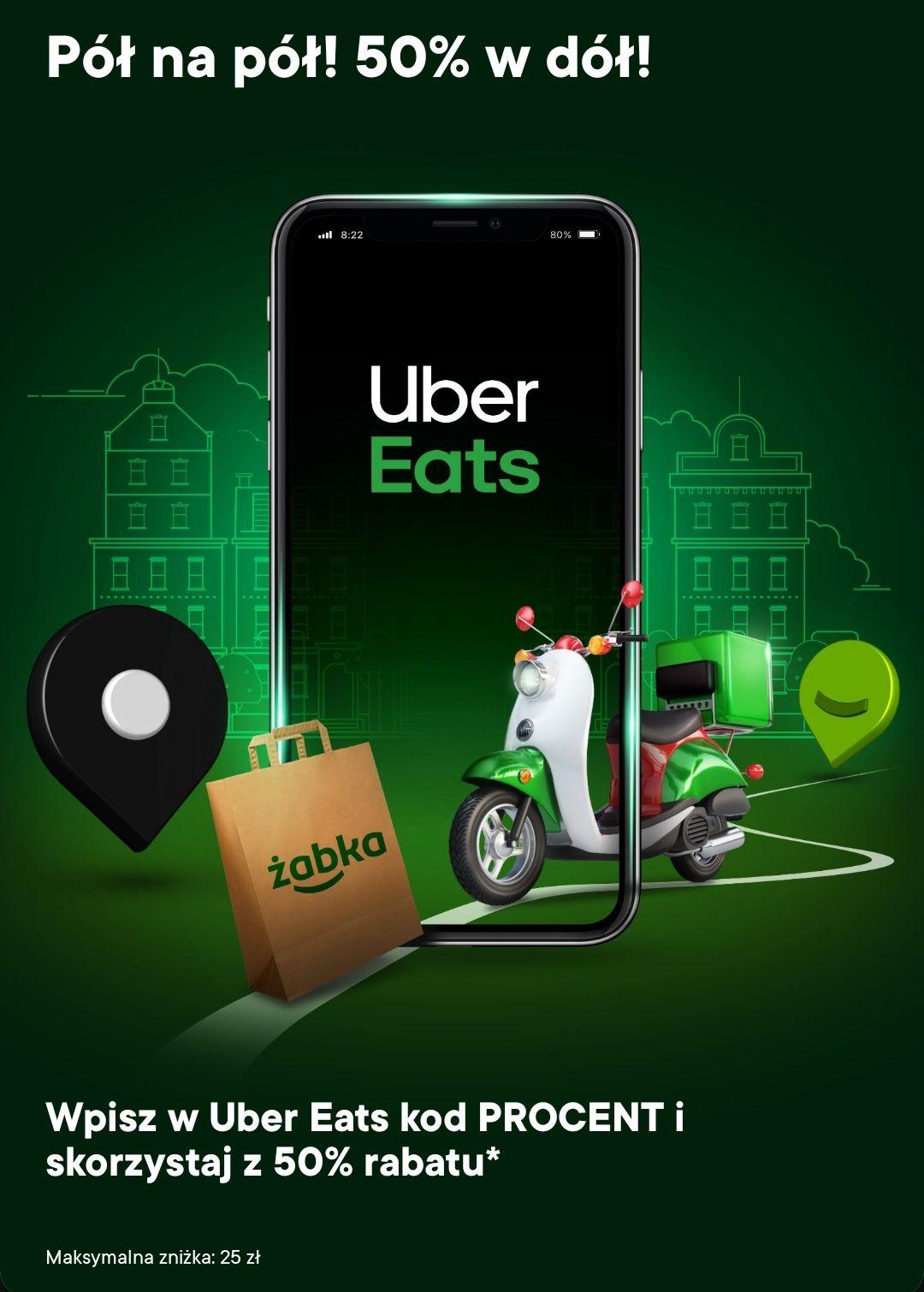 50% zniżki na zamówienia z Żabki w Uber Eats