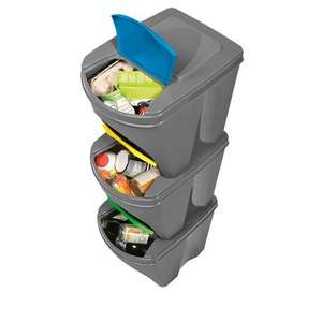 Kontener do segregacji odpadów 3 szt. ( 3x20 l, Szer. 29 x wys. 34 x gł. 39 cm )