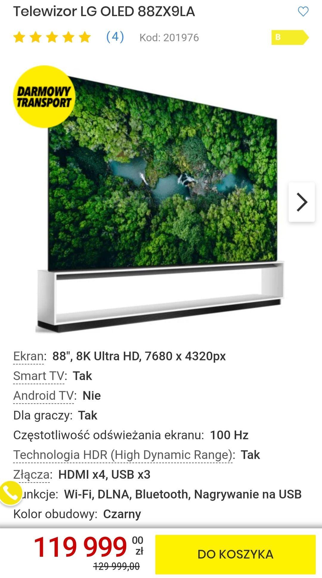 Telewizor LG OLED taniej o 10 000 zł