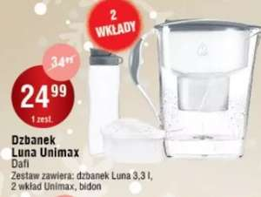 Zestaw DAFI: dzbanek Luna unimax 3.3 L + bidon + 2 wkłady oraz inne promocje - Leclerc