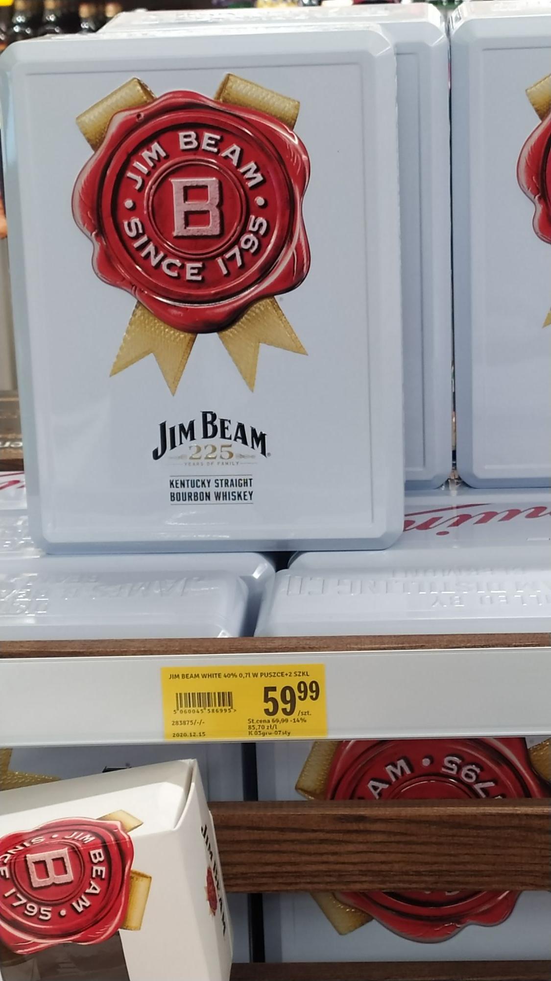 Jim Beam 0.7 w puszce + 2 szklanki