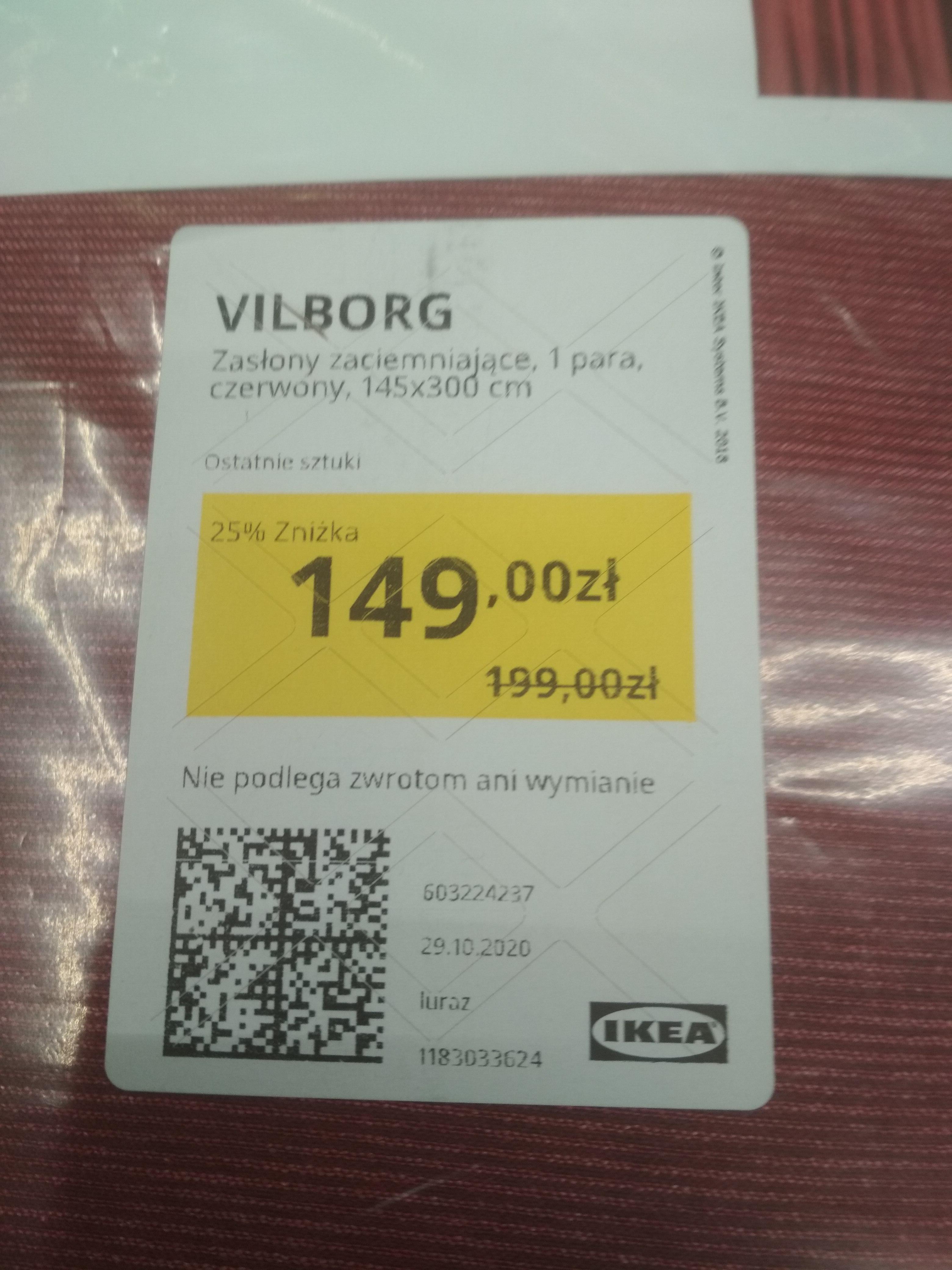 IKEA Gdańsk, zasłony zaciemniające ciemna czerwień Vilborg