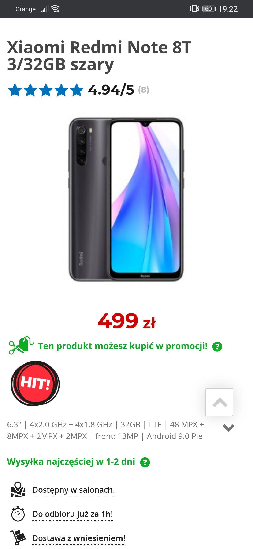 """Smartfon Xiaomi Redmi Note 8T 3/32 (499zł) lub 4/64 bez """"T"""" (599zł - z ekspozycji)"""