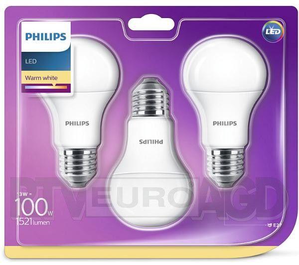 Philips LED 13 W (100 W) E27 3 szt. Ciepła biel 2700k.