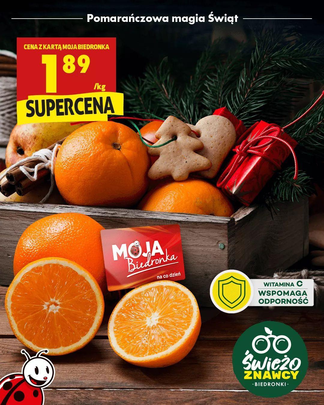 Pomarańcze deserowe 1.89zł/kg z kartą MB - Biedronka
