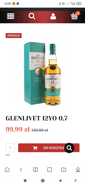 Whisky single malt Glenlivet 12 za 99 zł w alkooutlet !