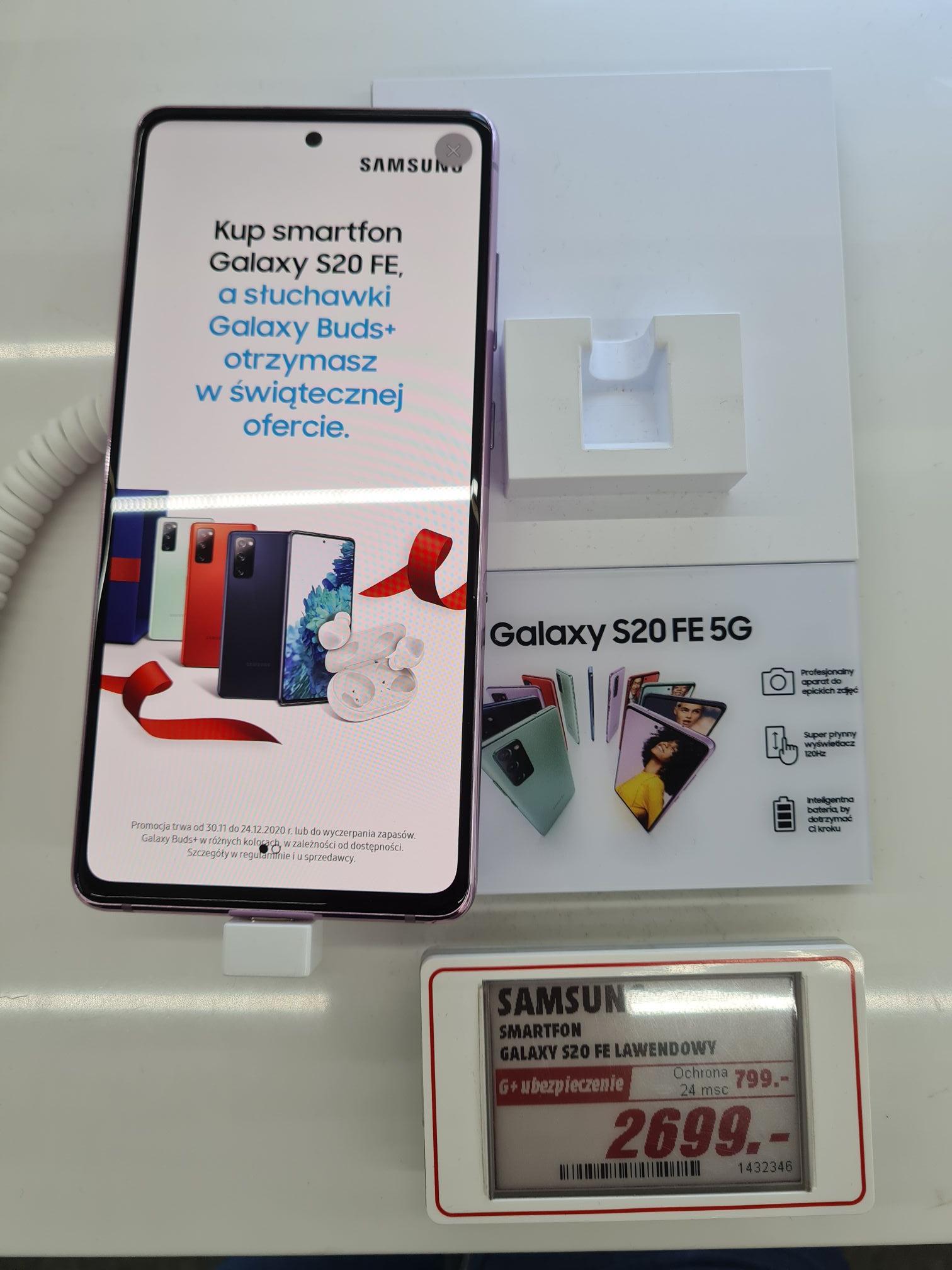 Samsung Galaxy S20FE 200 zł taniej + Galaxy Buds+ + karta podarunkowa o wartości 250 zł