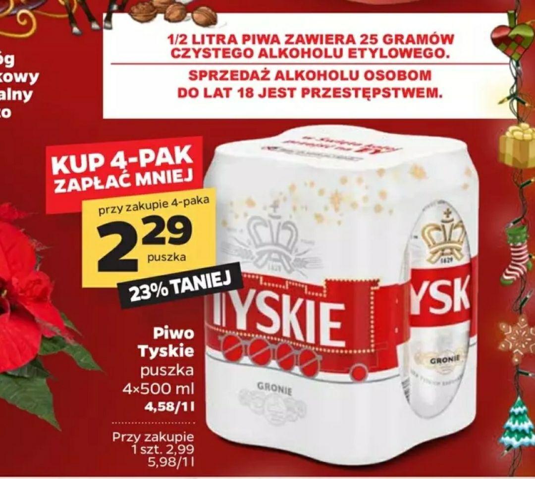 Piwo Tyskie 0.5L 2.29 zł netto