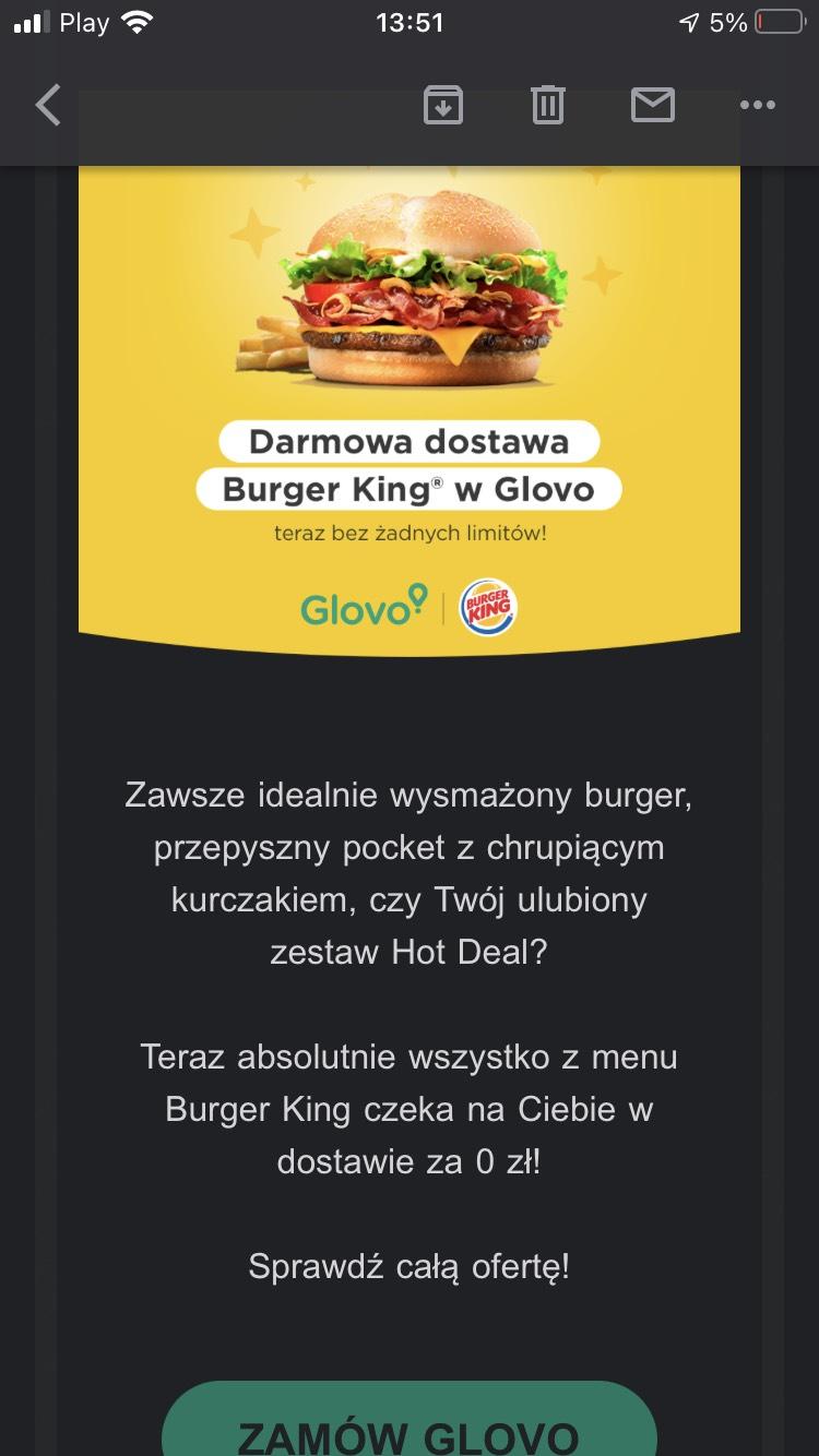 Darmowa dostawa z glovo burger king (powyżej 29zł)