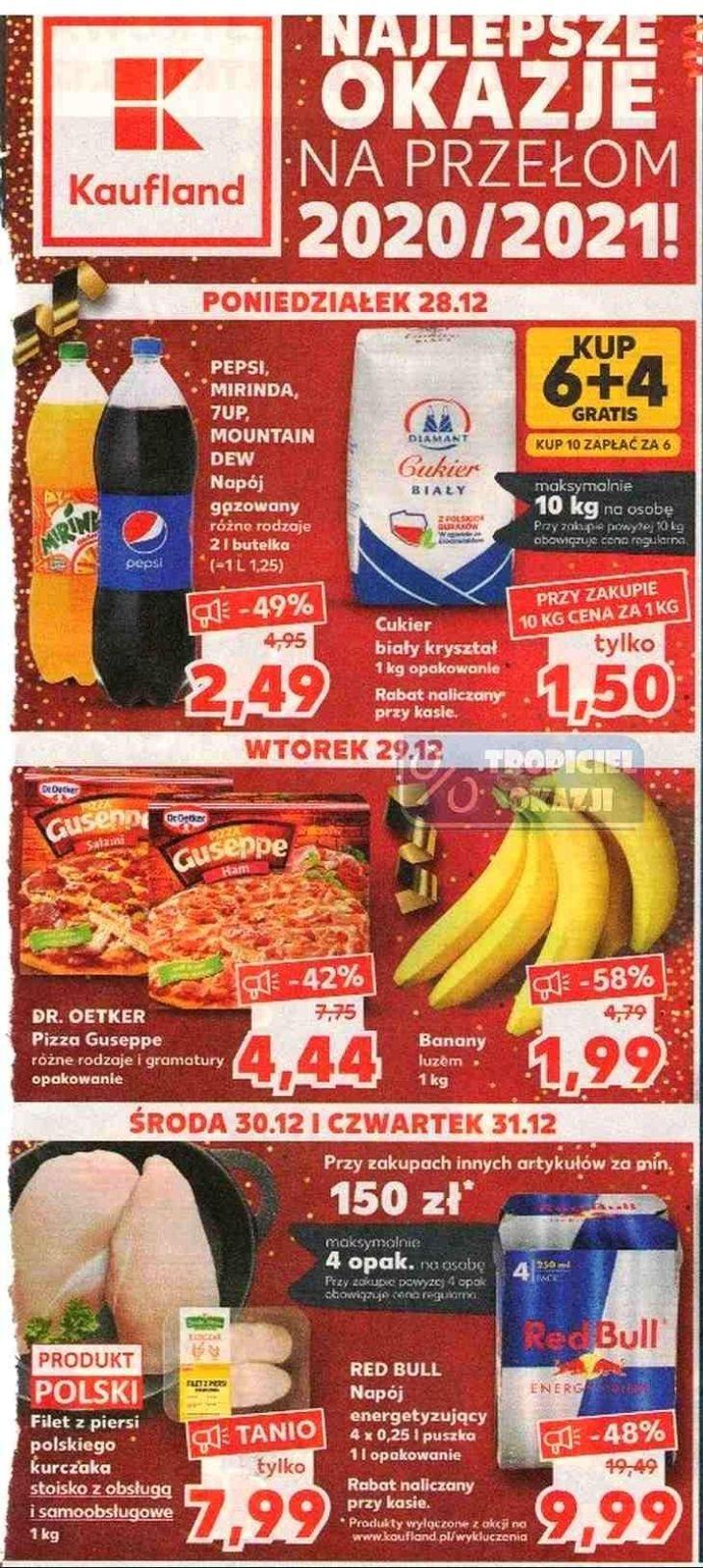Oferta zbiorcza w Kauflandzie: w poniedziałek Pepsi 2,49 zł/2l, wtorek banany 1,99 zł/kg, środa filet z piersi kurczaka 7,99 zł/kg oraz inne
