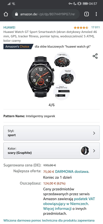 Amazon - Huawei Watch GT Sport - dostawa przed świętami 75€