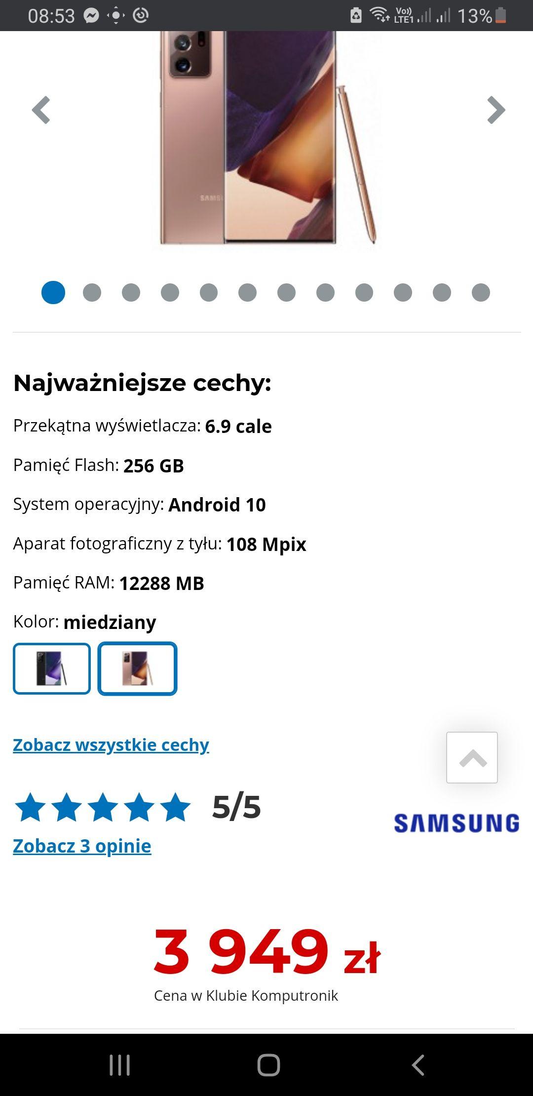 Samsung Galaxy Note 20 Ultra Miedziany i biały