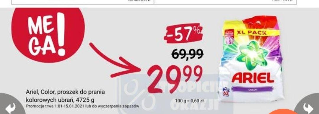 Proszek do prania ariel 4725 g za 29,99 zł (63 prania) w Rossmannie