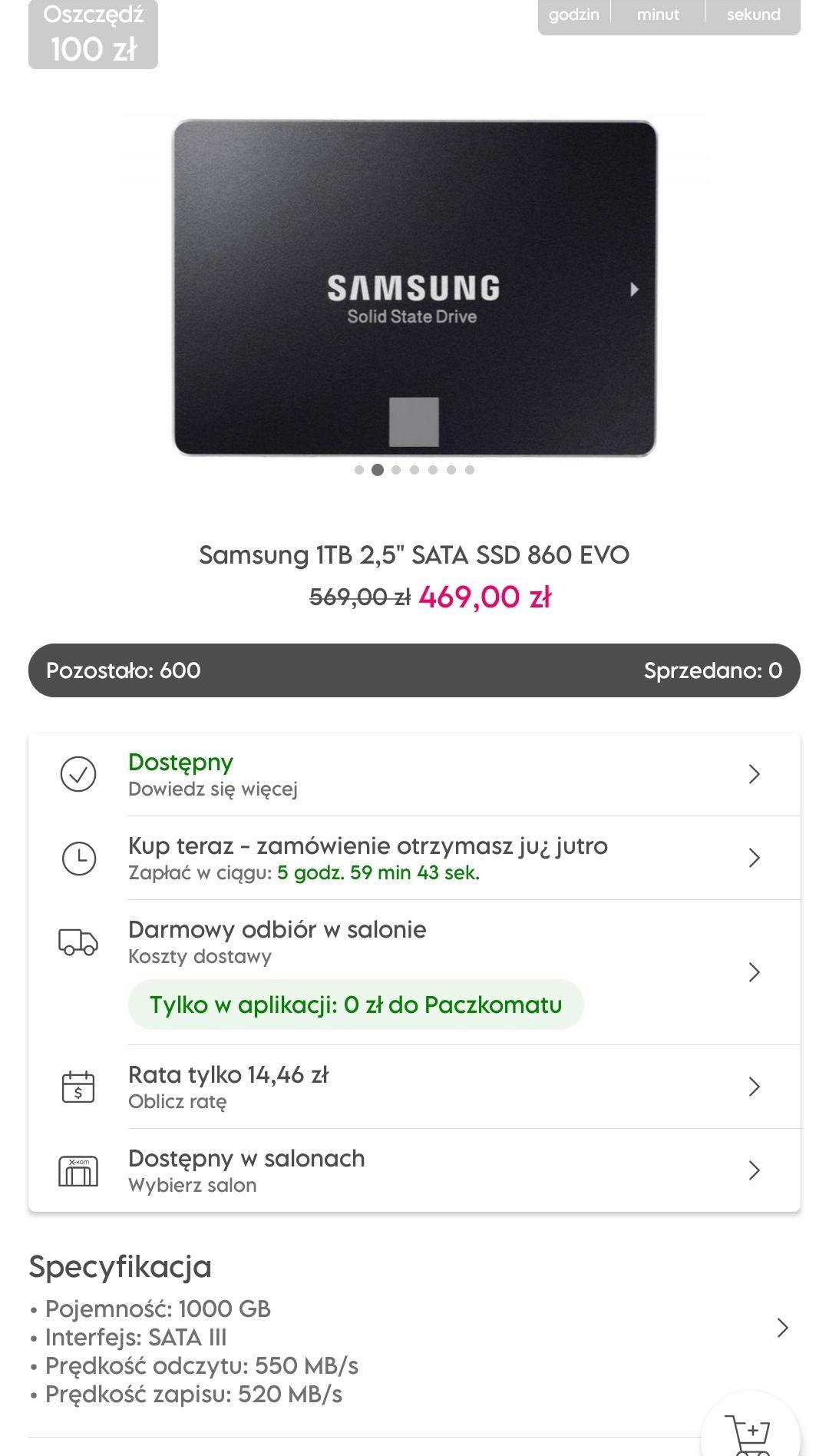"""Dysk Samsung 1TB 2,5"""" SATA SSD 860 EVO"""