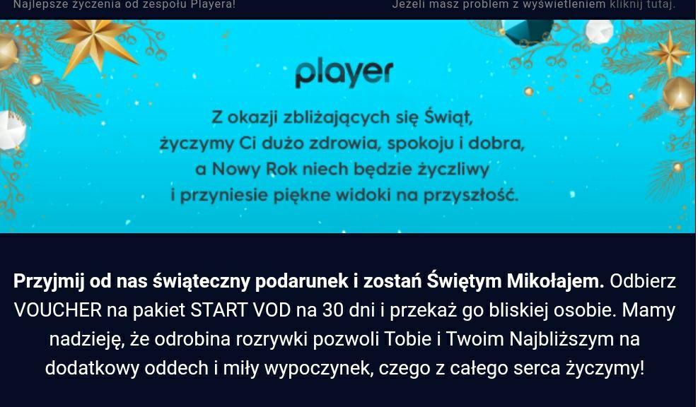 Player przesyła kody na maila na darmowe 30 dni pakietu start vod