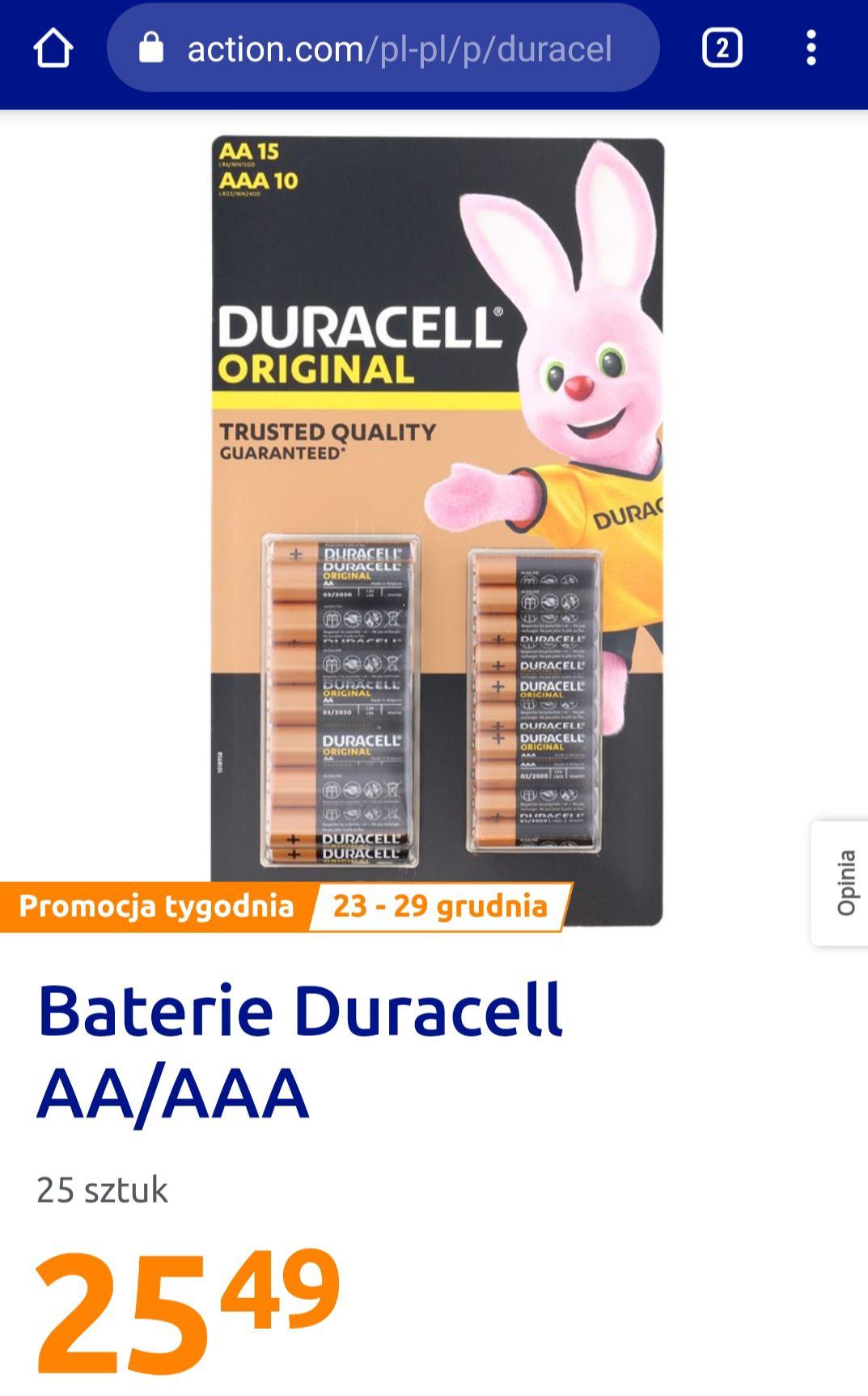 Baterie Duracell 25 sztuk po 25.49. Sklep Action