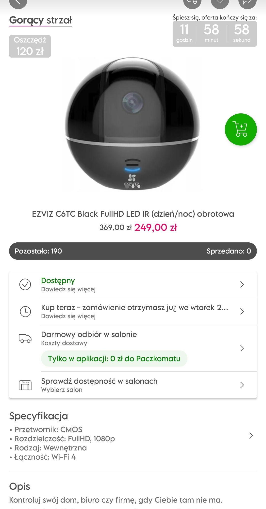 Kamera EZVIZ C6TC Black FullHD LED IR