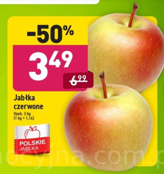Jabłka czerwone 3 kg opak. (1,16 zł/kg) @Aldi