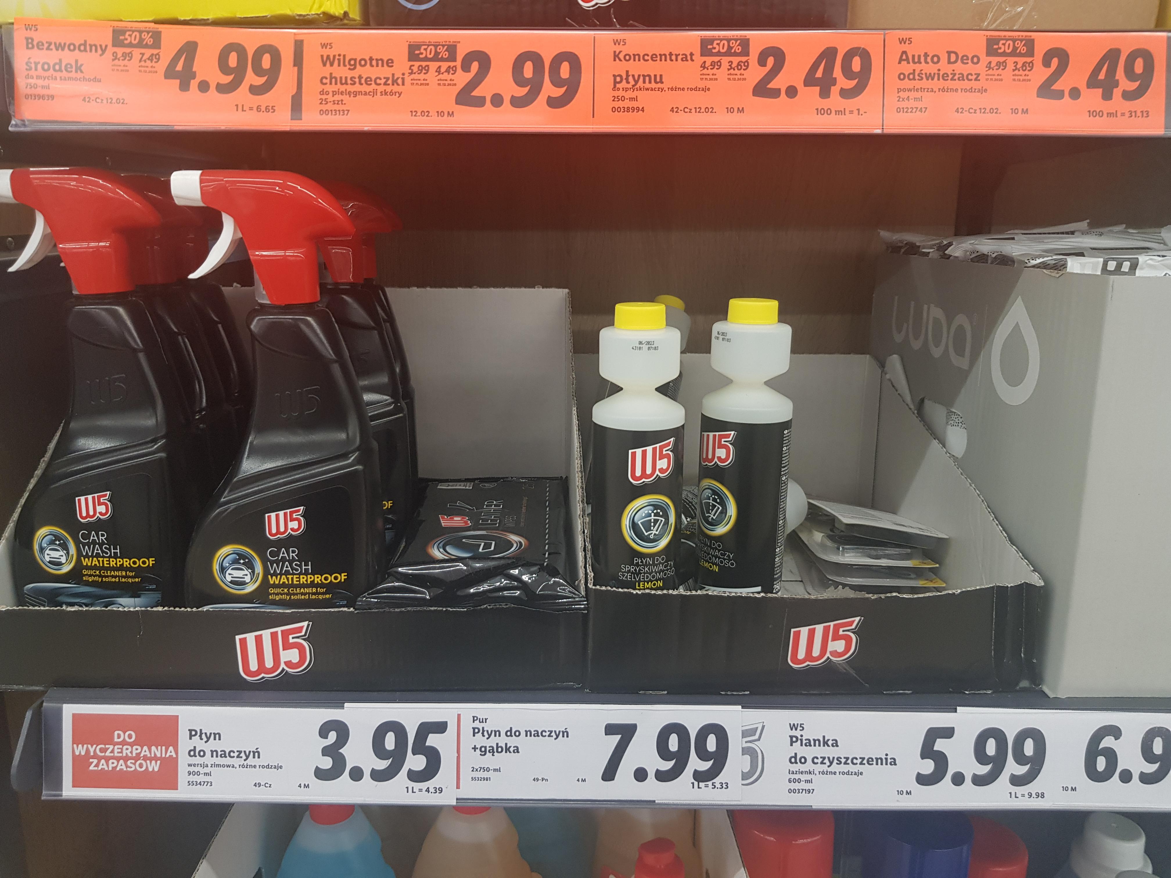 Lidl - kosmetyki samochodowe W5 i inne za pół ceny. Lista w opisie