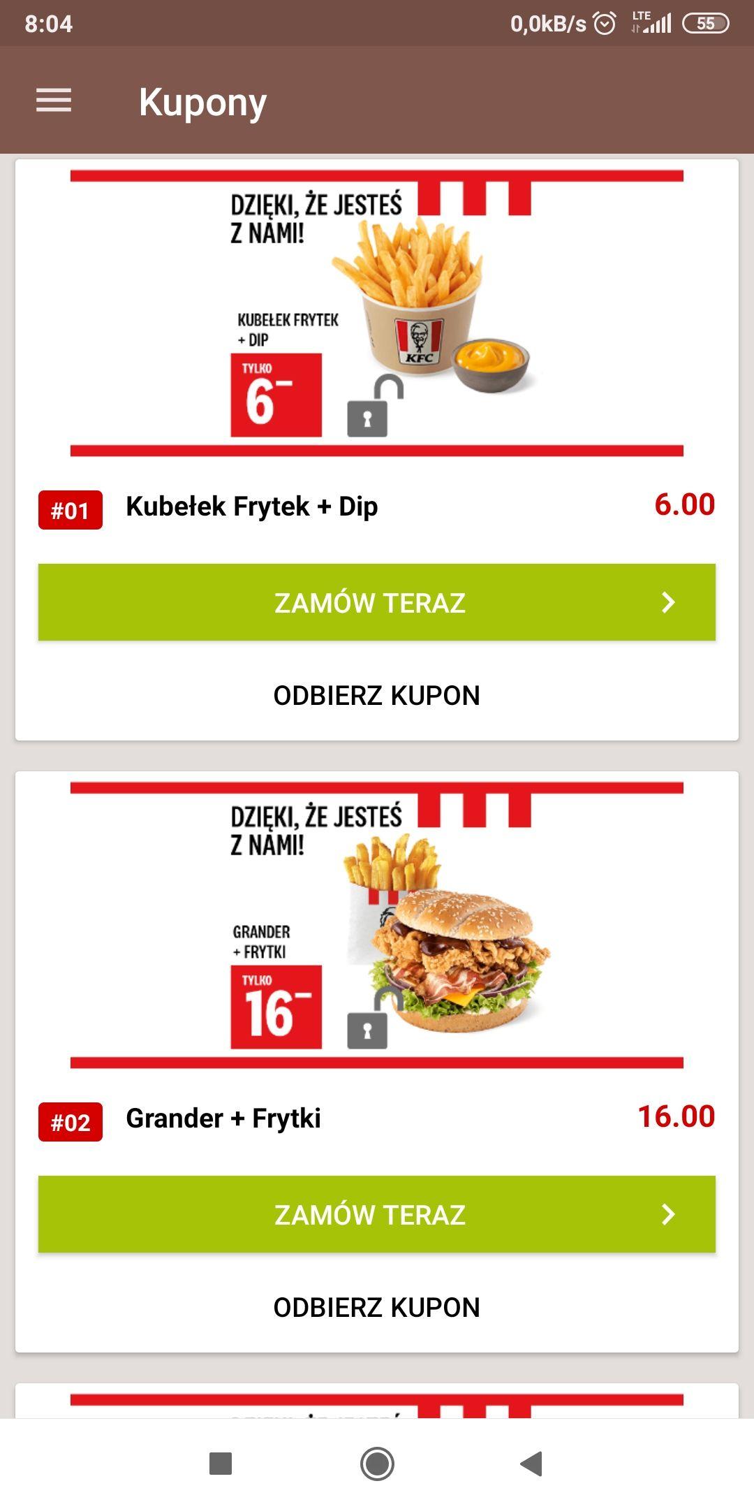 Kupony w aplikacji do KFC