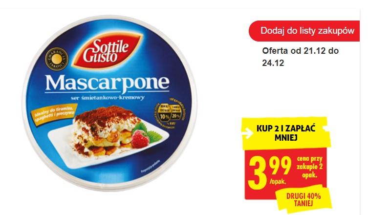 Od 25.01.2021 serek Mascarpone Sottile Gusto, 250 g po 3,99 przy zakupie 2