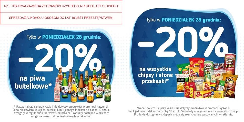 -20% na piwa w butelkach, chipsy i przekąski słone Stokrotka