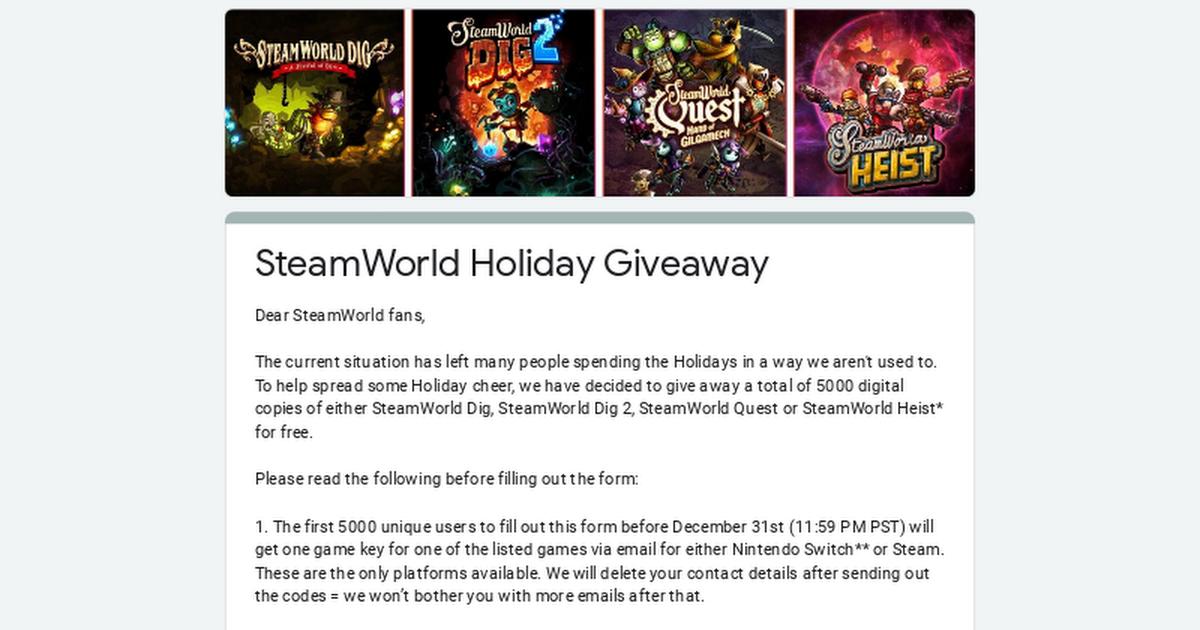 SteamWorld Dig, SteamWorld Dig 2, SteamWorld Quest lub SteamWorld Heist za darmo na Steam oraz Nintendo Switch