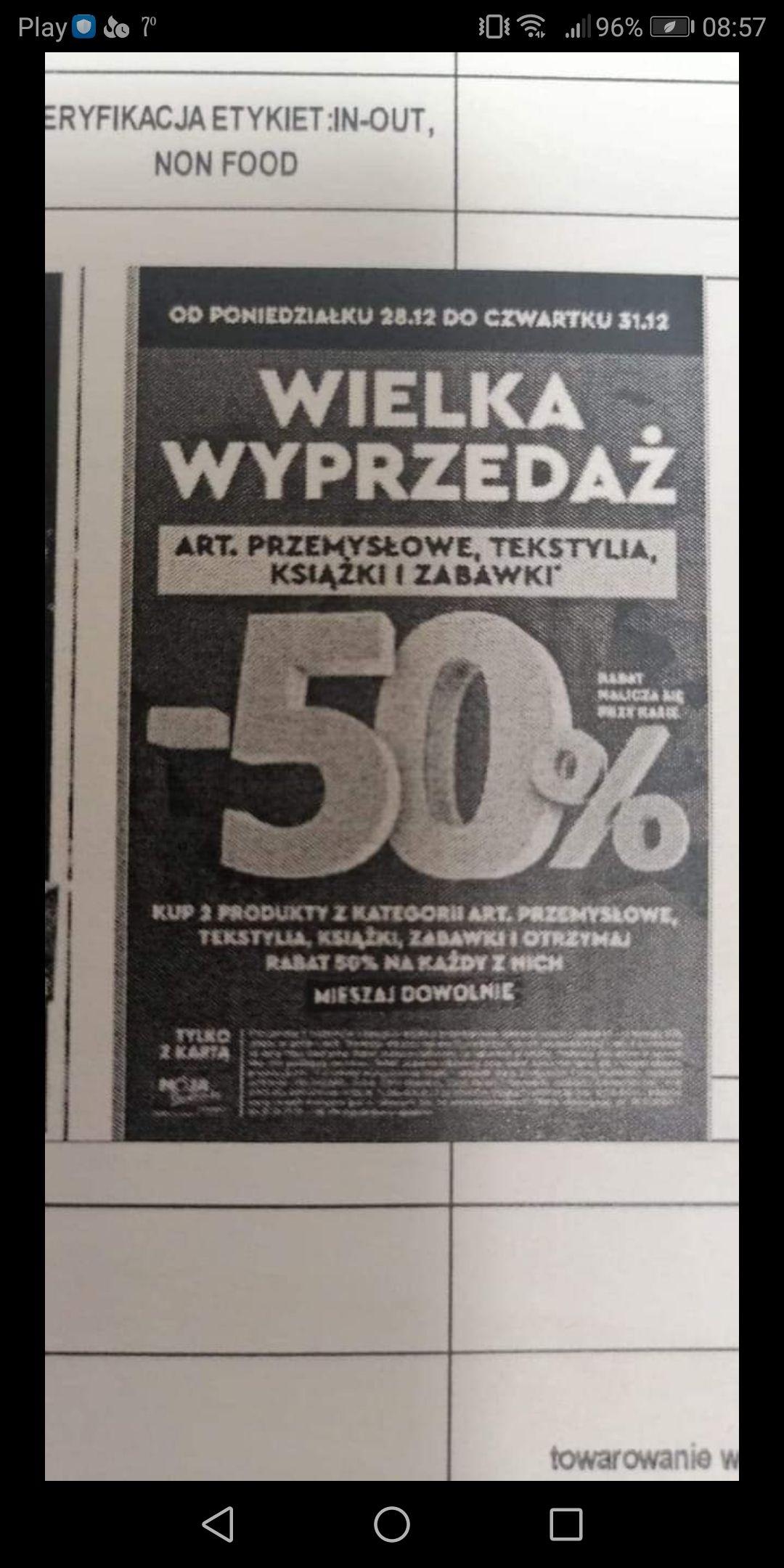 Biedronka 50% rabatu z MB na zabawki, tekstylia itd od 28.12