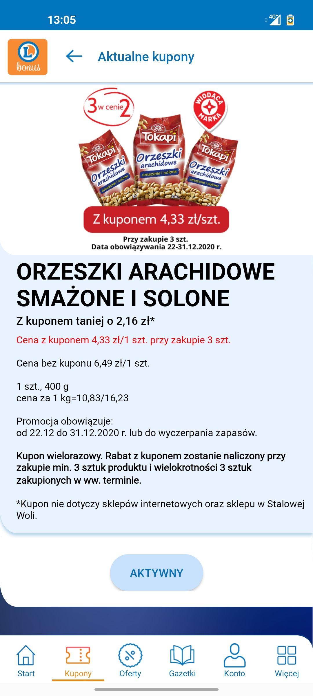 Orzeszki arachidowe 400g 3 w cenie 2 Leclerc