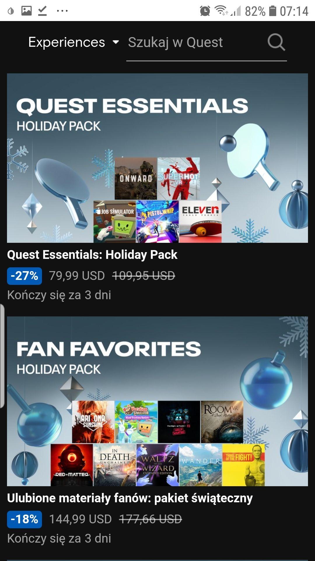 Oculus quest wyprzedaż świąteczna