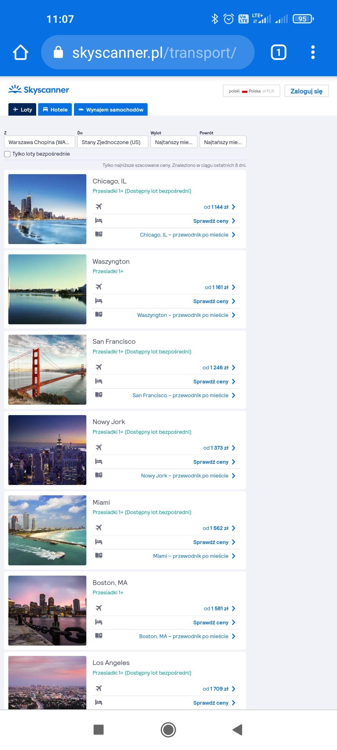 Tanie loty do USA z Warszawy i innych miast do Chicago,Waszyngton ,San Francisco od 1100-1200 zl w dwie strony. Od Maja do Września