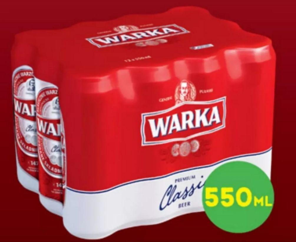 Piwo Warka Jasne Pełne 550ml w Biedronce - cena przy zakupie 12-paka