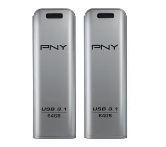 2 x Pendrive PNY Elite Steel 64GB ( 20MB/s zapis, 80MB/s odczyt, USB 3.1 )