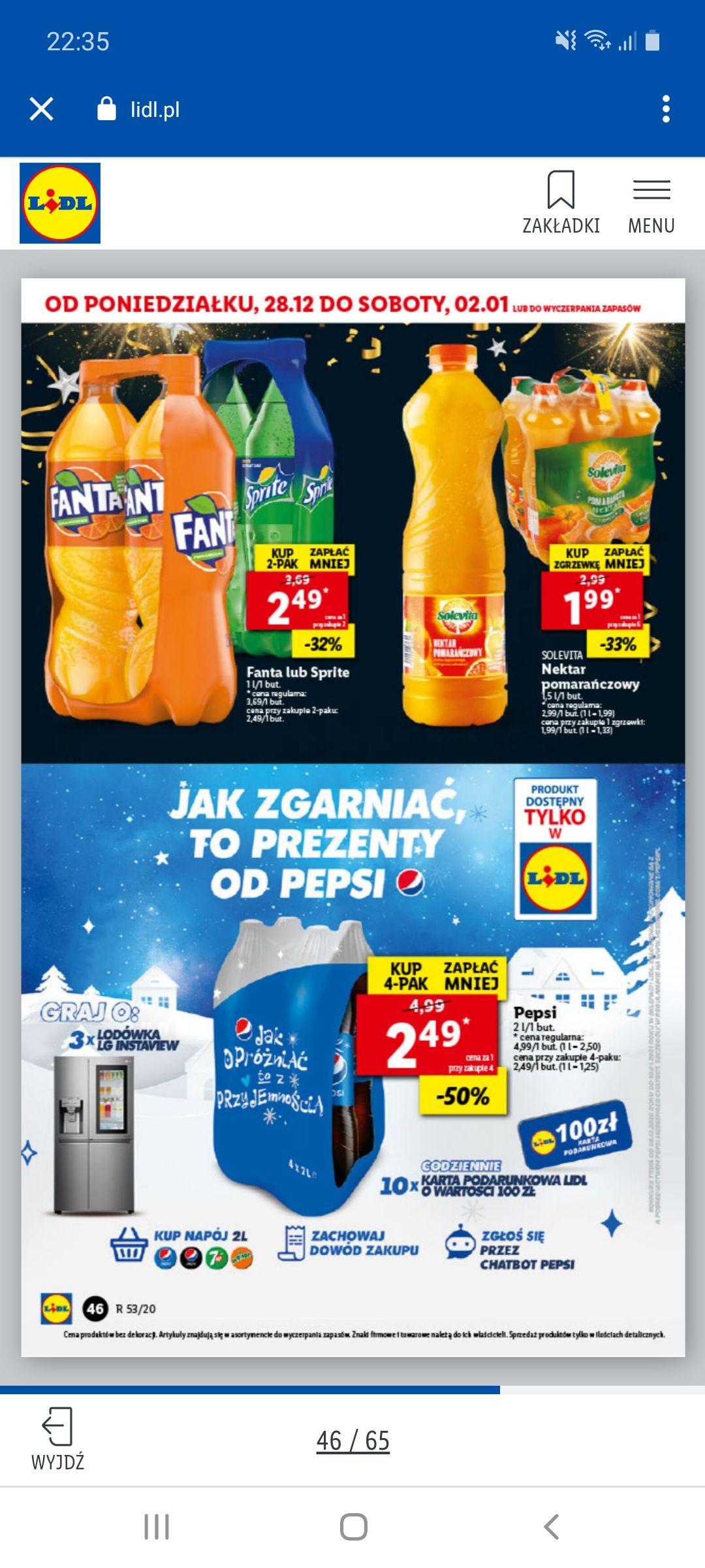 Pepsi 2L przy zakupie 4 sztuk, 1l=1,25zł Lidl