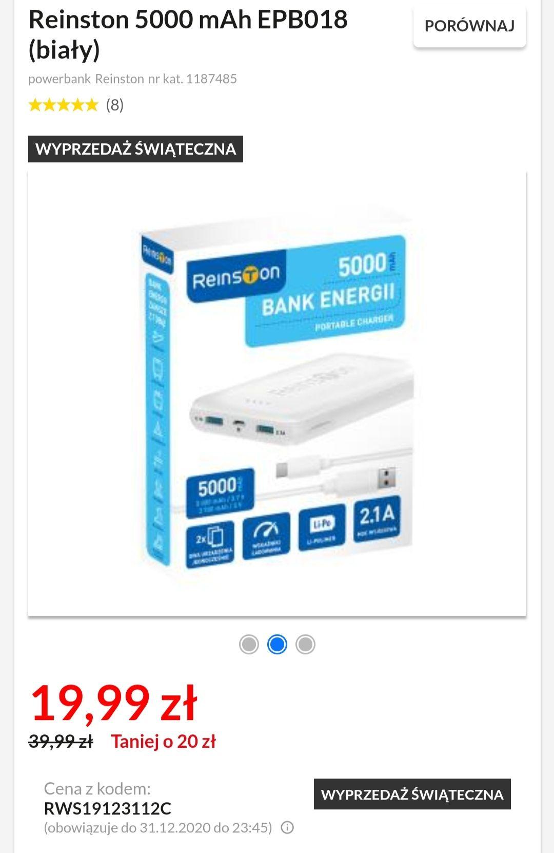 Powerbank Reinston 5000 mAh 2.1A EPB018 (biały/czarny)