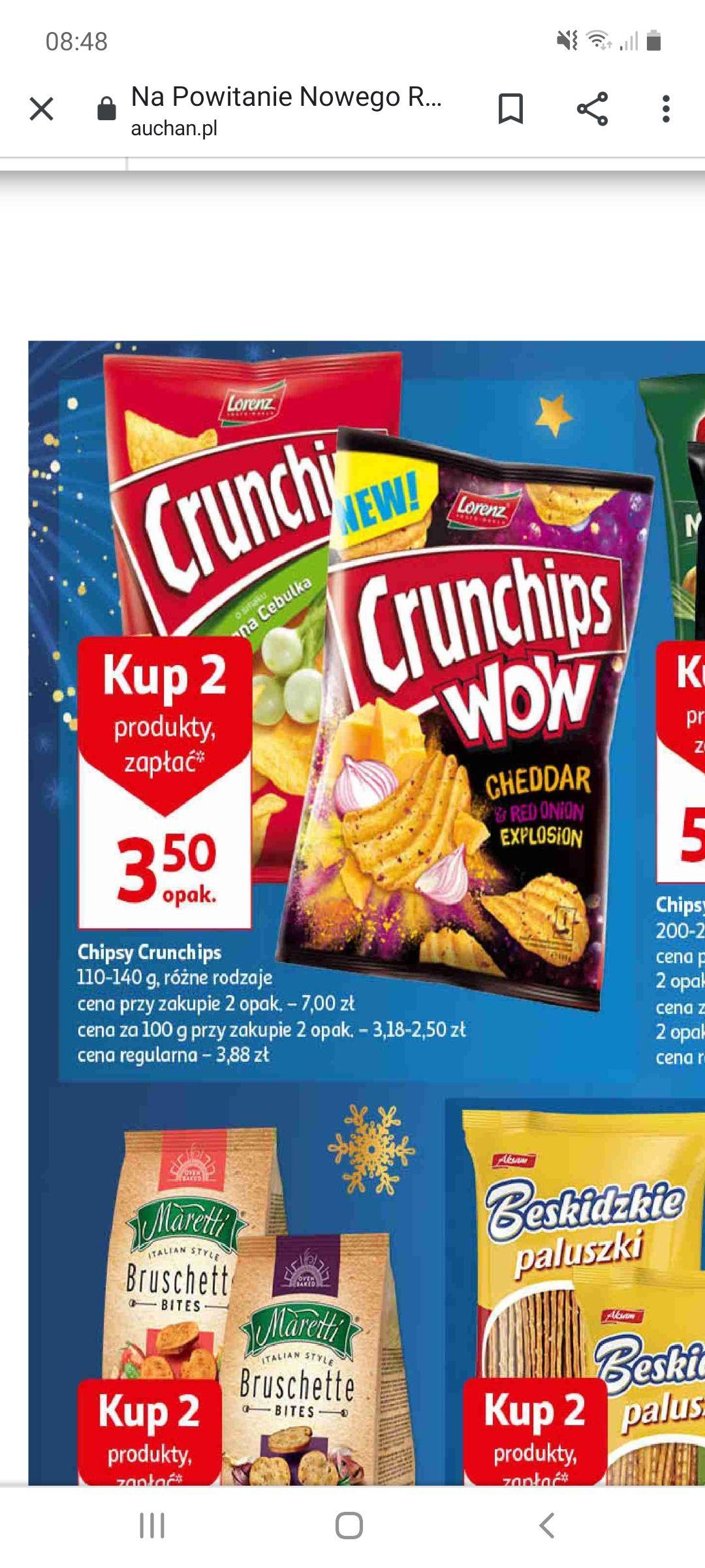 Chipsy Crunchips różne rodzaje przy zakupie dwóch