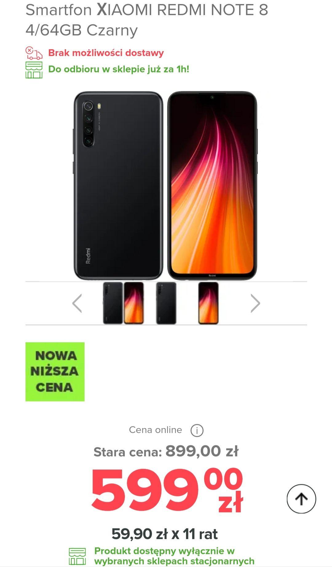 Smartfon XIAOMI REDMI NOTE 8 4/64GB (Czarny/Niebieski)