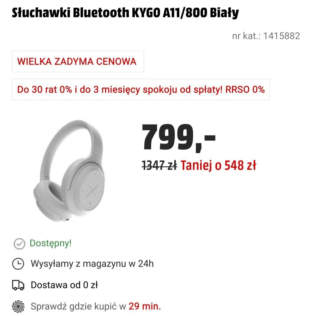 Słuchawki Bluetooth KYGO A11/800 Biały