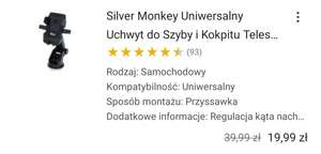 Silver Monkey Uniwersalny Uchwyt do Szyby i Kokpitu Teleskopowy
