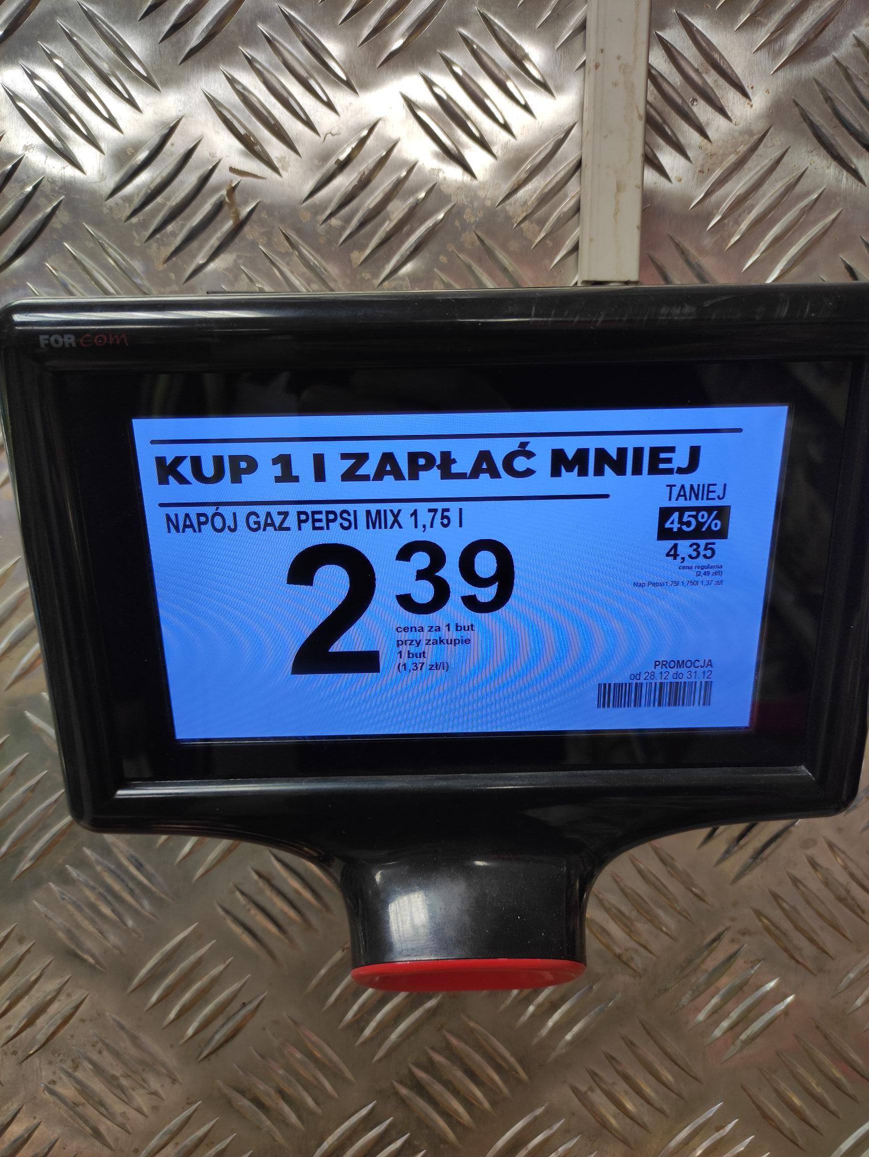Pepsi 1.75l za 2.39zł - Biedronka Nowy Sącz ul.Zdrojowa