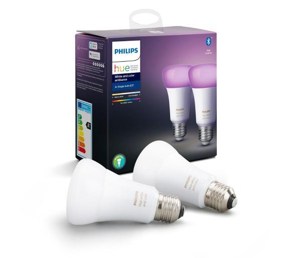 Inteligentne żarówki Philips Hue White and Colour Ambiance E27 (2 szt.) Bluetooth @ RTV Euro AGD